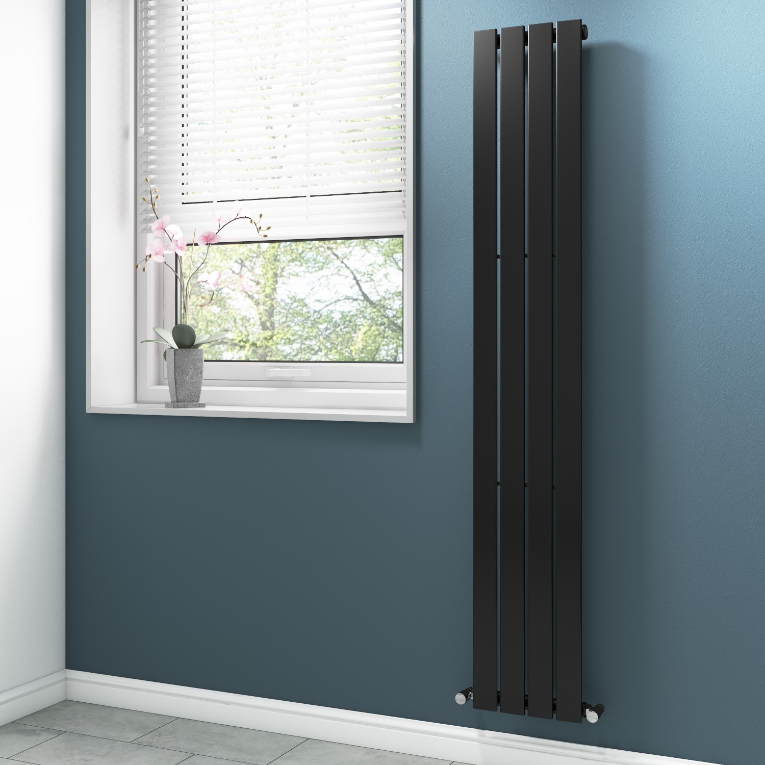 Anthracite Vertical Tall Radiator With Flat Panels 1800 X 300mm Better Bathrooms