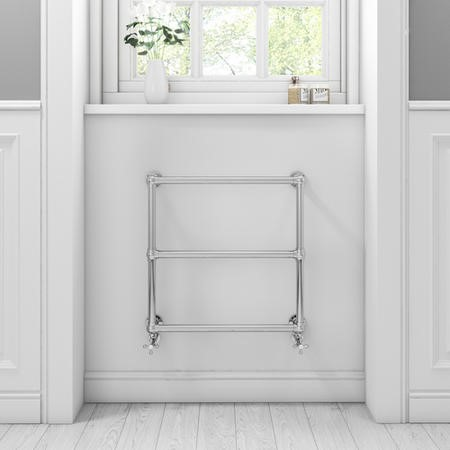 Chrome Traditional Wall Hung Towel Radiator - 658 x 658 x 155mm