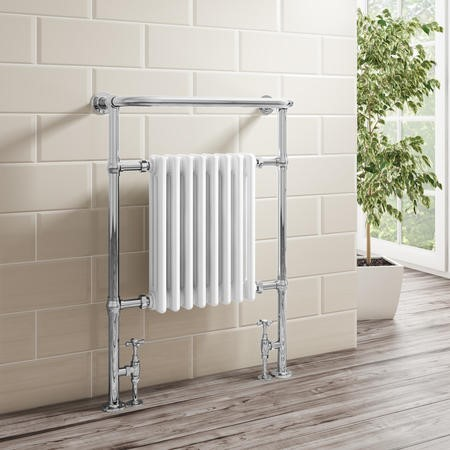 White Chrome Traditional Wall Hung Towel Radiator - 963 x 673 x 230mm