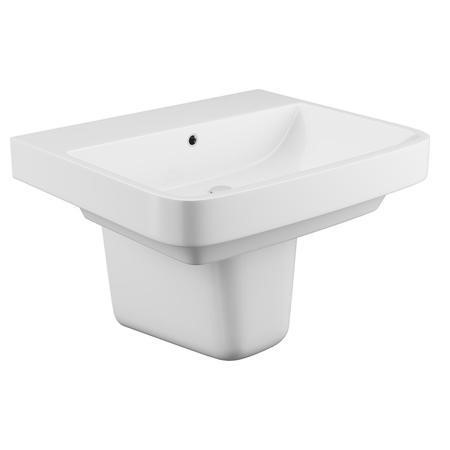 Davana Wall Mount Sink with Semi Pedestal - 1 Tap Hole