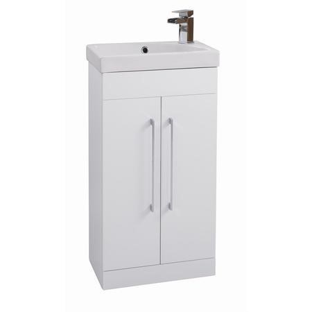 White Free Standing Double Door Vanity unit - W460 x H880mm