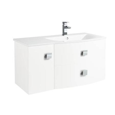 White Wall Hung Bathroom Vanity Unit & Basin Right Handed - W1012 x H428mm