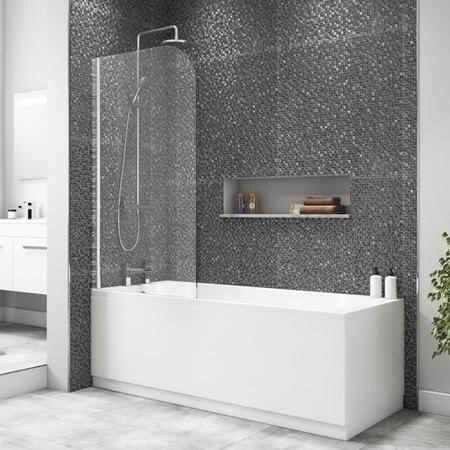 Taylor & Moore Half Frame Curved Corner Bath Screen - 750 x 1400mm