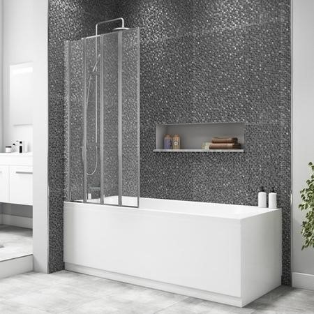 4 Fold Shower Bath Screen with Chrome Frame 830 x 1400mm
