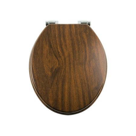 Soft Close Toilet Seat in Mahogany with Chrome Hinges