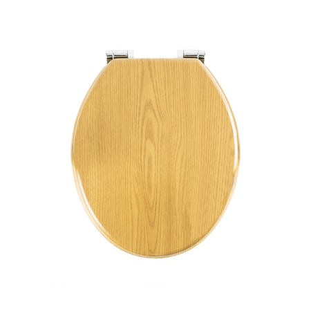 Soft Close Toilet Seat in Oak with Chrome Hinges