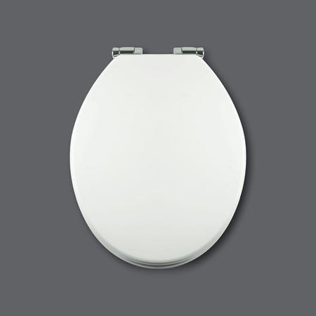 GRADE A1 - Soft Close Toilet Seat in White with Chrome Hinges