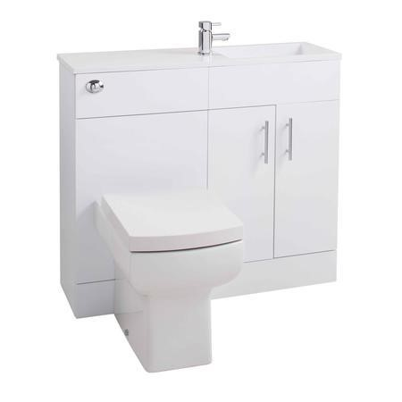 White Slim Line Right Hand Basin & Vanity Unit Furniture Suite - W995mm