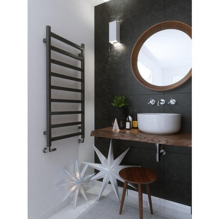 Graphite Vertical Bathroom Towel Radiator with Square Rails 1080 x 500mm
