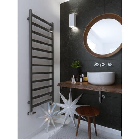 Graphite Vertical Bathroom Towel Radiator with Square Rails 1440 x 500mm