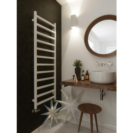 Soft White Vertical Bathroom Towel Radiator with Square Rails 1440 x 500mm