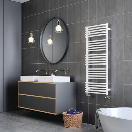 Soft White Curved Vertical Bathroom Towel Radiator 1180 x 500mm