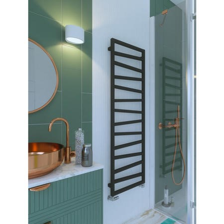 Metallic Black Vertical Bathroom Towel Radiator 1545 x 500mm