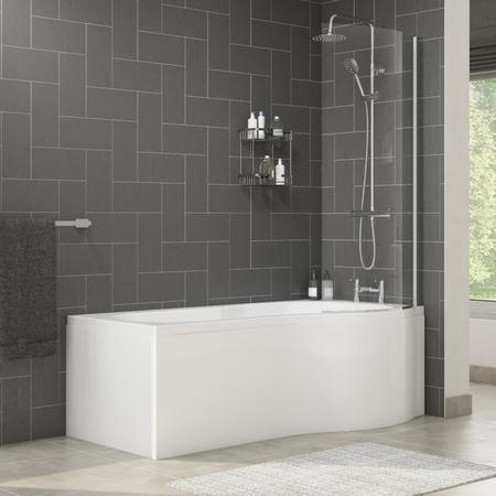 Palham Right Hand P Shape Bath with Side Panel & Shower Screen - 1700 x 700mm