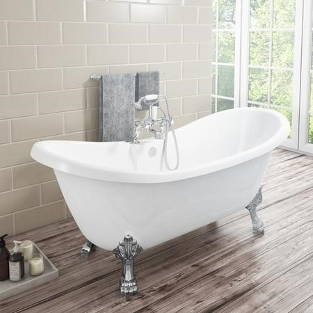 Lostock Traditional Double Ended Slipper Style Freestanding Bath with Lion Feet - 1750 x 730 x 770mm