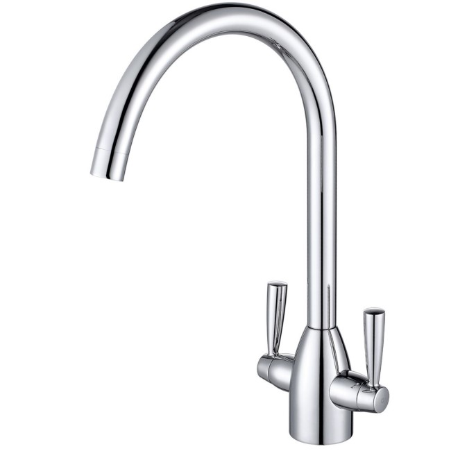 Enza Bronte Polished Chrome Twin Lever Mixer Kitchen Tap