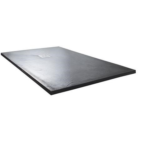 Claristone 1200x900mm Rectangle Textured Slate Effect Shower Tray Anthracite + waste