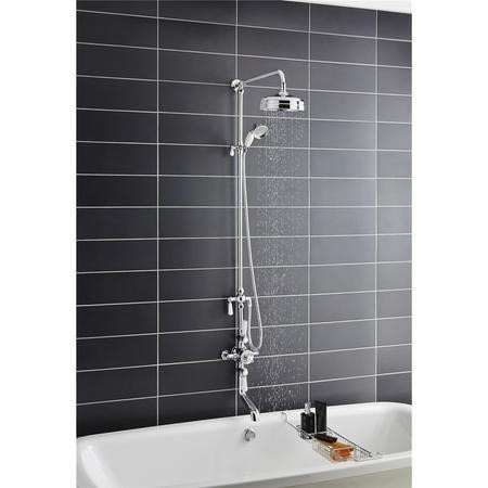 Hudson Reed White Topaz Triple Thermostatic Shower Valve With Rigid Riser