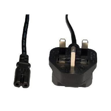 UK Mains to Figure 8 C7 2 Meter Black OEM Power Cable