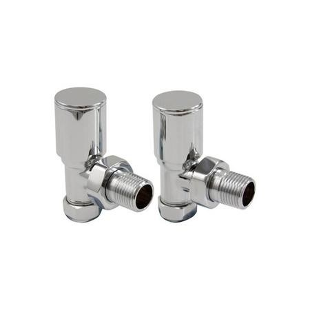 Round Angled Radiator Valves Chrome