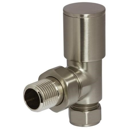 Round Angled Radiator Valves Brushed Nickel
