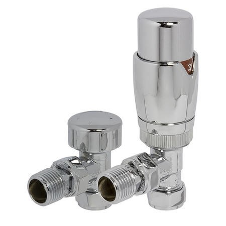Round Angled TRV and Lockshield Radiator Valves Chrome
