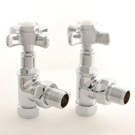 Period Cross Head Angled Radiator Valves Chrome