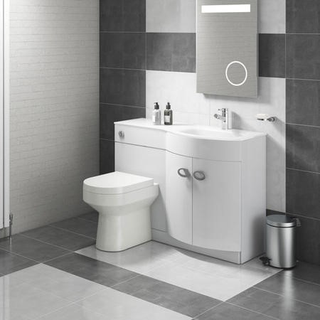 Curved White Right Hand Bathroom Vanity Unit & Glass Basin - Without Toilet