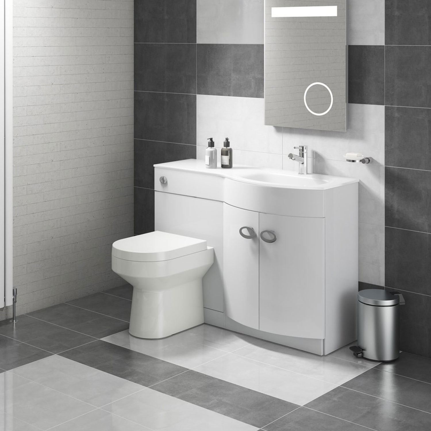 General Furniture Curved White Right Hand Bathroom Vanity Unit & Glass Basin - Without Toilet
