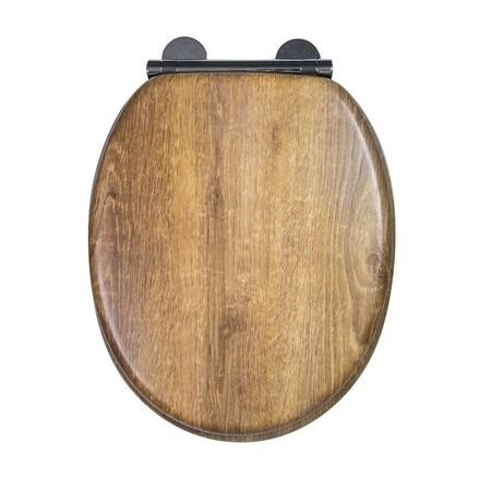Croydex Ontario Anti-Bacterial Toilet Seat with Soft-Close Hinge - Teak Finish