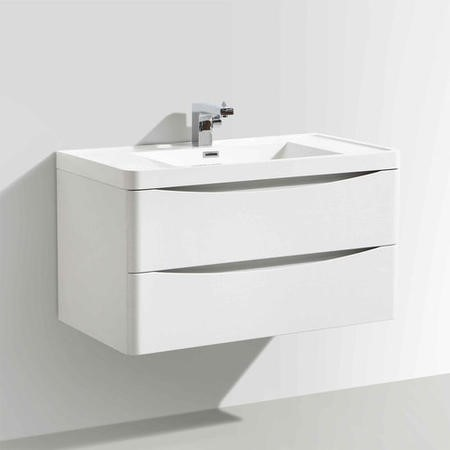White Wall Hung Bathroom Vanity Unit & Basin - W900 x D480mm - Oakland