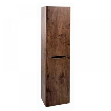 Walnut Wall Hung Tall Bathroom Storage Cabinet - 400mm Wide