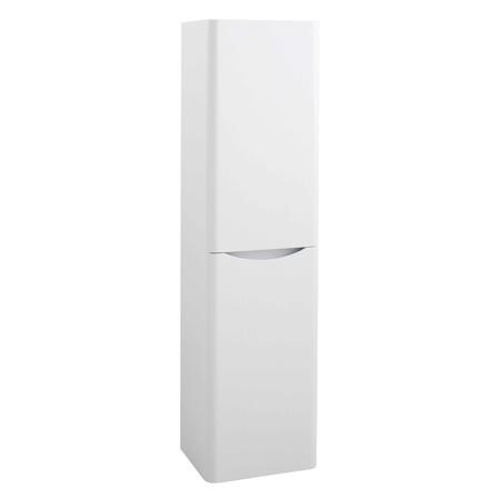 White Wall Hung Tall Bathroom Storage Cabinet - 400mm Wide