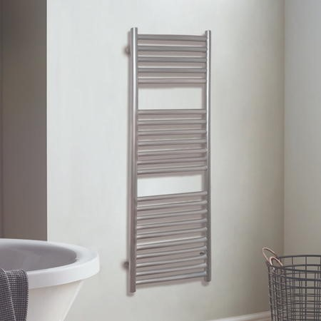 Satin Finish Silver Vertical Bathroom Towel Radiator 800 x 500mm