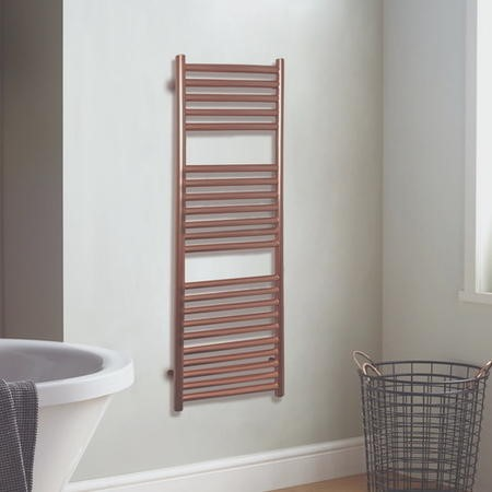 Satin Finish Rose Gold Vertical Bathroom Towel Radiator 1200 x 500mm