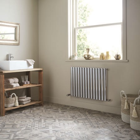 Chrome Horizontal Bathroom Radiator 600 x 832mm