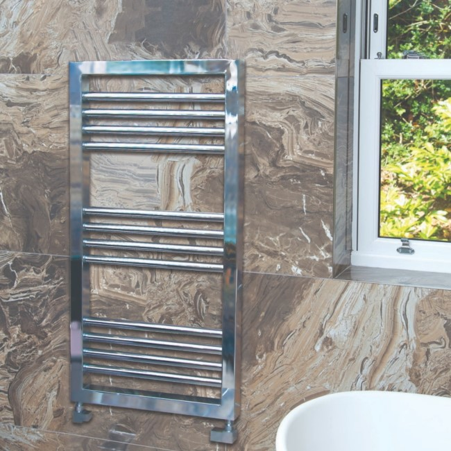 Lambourn Chrome Heated Towel Rail - 900 x 500mm
