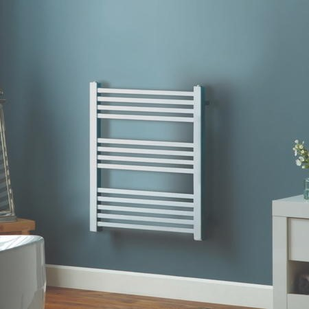 GRADE A1 - Chrome Towel Radiator with Square Rails 212W - 800 x 450mm - Electric