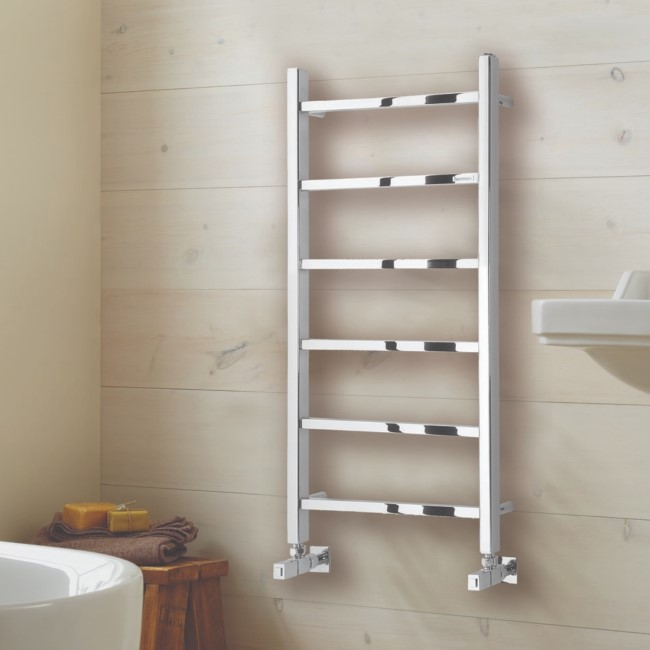 Diva Polished Stainless Steel Heated Towel Rail - 800 x 500mm