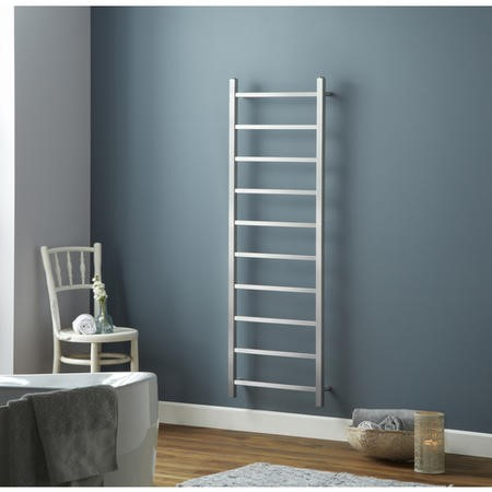 Brushed Stainless Steel Vertical Bathroom Towel Radiator 1500 x 500mm