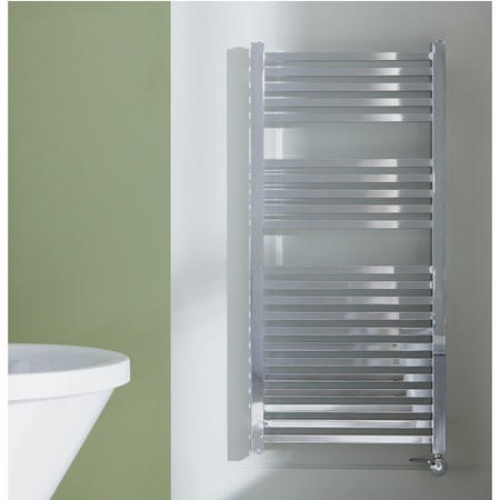 Chrome Vertical Bathroom Towel Radiator with Square Rails 466W - 1200 x 600mm - Electric