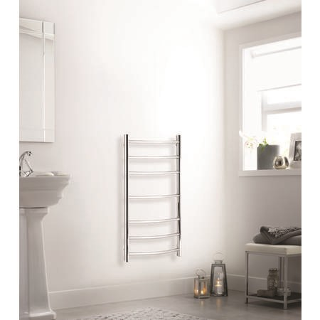 Polished Stainless Steel Vertical Curved Bathroom Towel Radiator 70W - 800 x 600mm - Electric