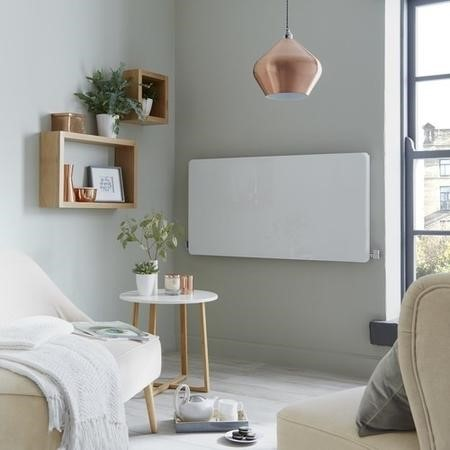 White Horizontal Glass Radiator 955W -