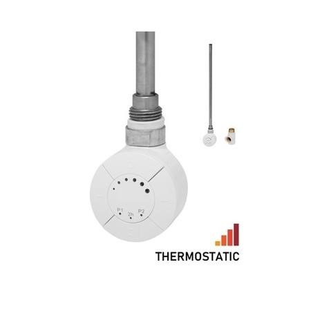 Thermostatic Towel Rail Element with Dual Fuel Kit - 100W - White