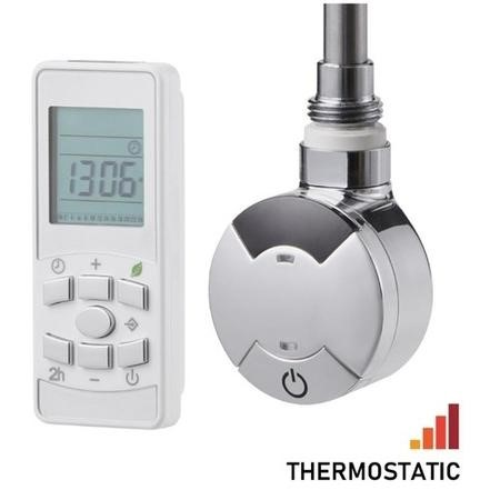 Timed Remote control Thermostatic Towel Rail Element with Dual Fuel Kit 600W - Chrome