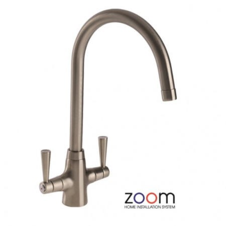 Zoom ZP1004 Bellagio Twin Lever Monobloc Brushed Nickel Tap