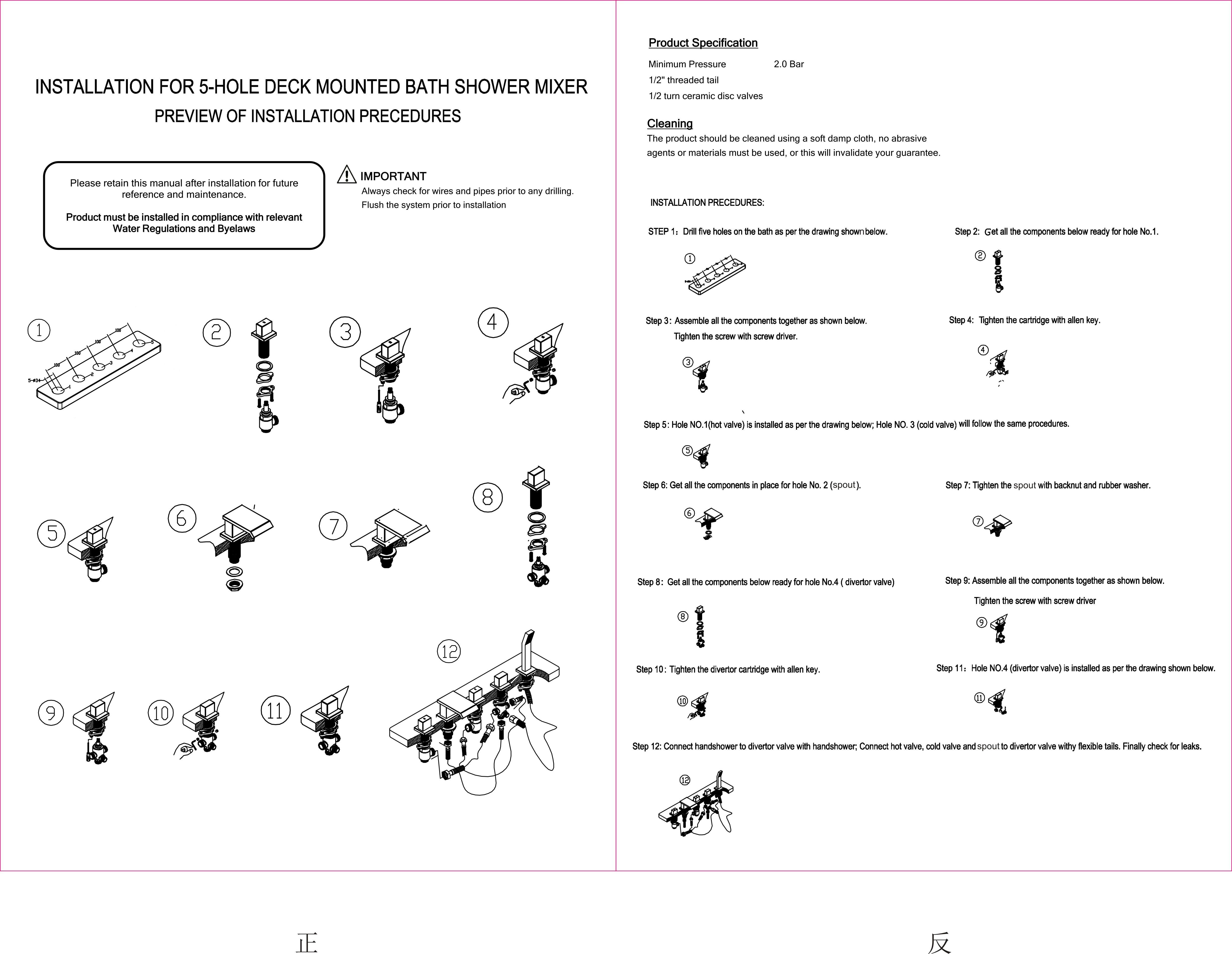 aqua 5 tap hole bath shower mixer download pdf