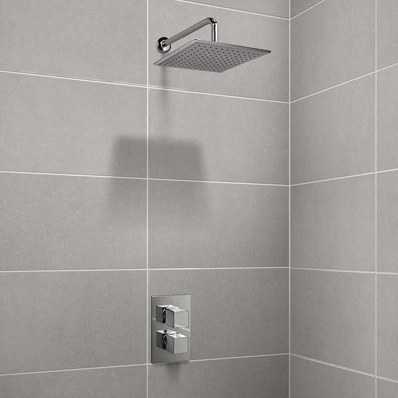 EcoCube Dual Valve with 250mm Square Shower Head & Wall Arm