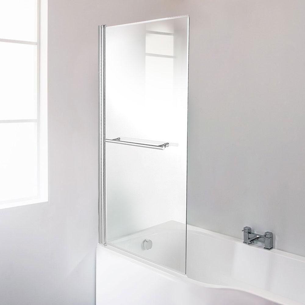 Straight Top Hinged Bath Shower Screen with Towel Rail