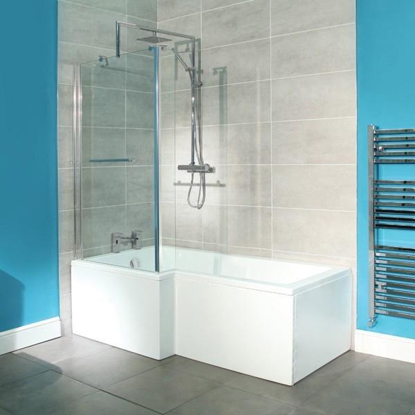 1600 x 850 Left Hand L-Shaped Shower Bath
